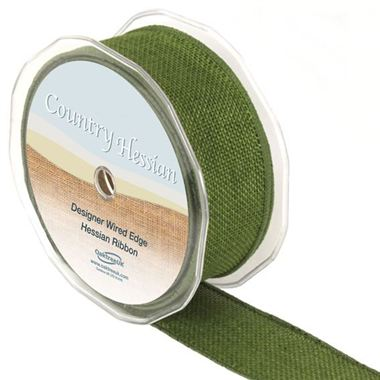 Ribbon Hessian Green - 38mm
