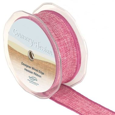 Hessian Ribbon Pink - 38mm
