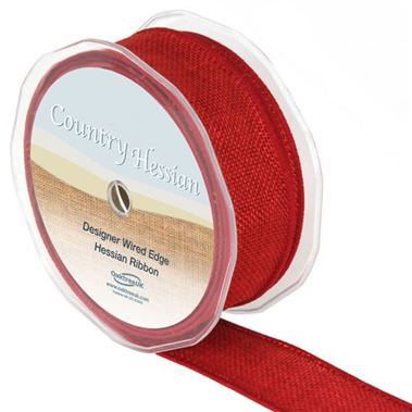 Hessian Ribbon Red - 38mm