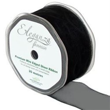 Ribbon Organza Black - 50mm