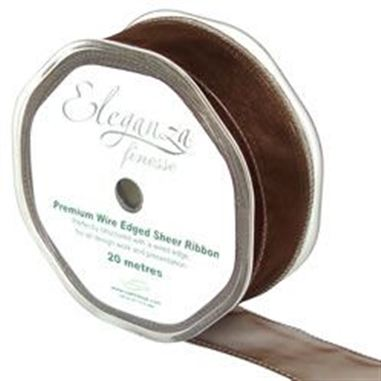 Ribbon Organza Chocolate - 32mm