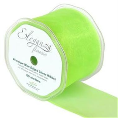 Ribbon Organza Lime Green - 70mm