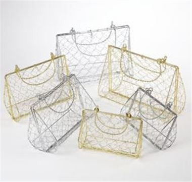 Wire Handbag Set of 3 - Silver