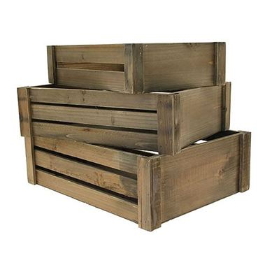 wooden crates white washed set of 3 wholesale flowers. Black Bedroom Furniture Sets. Home Design Ideas