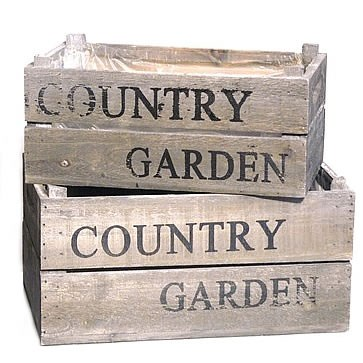 Country Garden Wooden Crates (Set of 2)